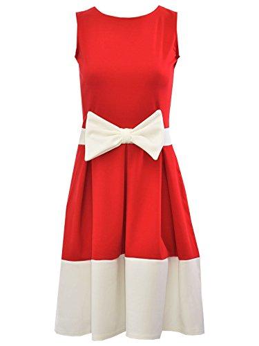 janisramone Damen Neu Ärmellos Krawatte Schleife Detail Skater Damen Kontrast Panel Plissee Flared Mini Kleid Red with White Bow