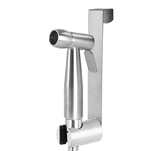 Bidet Wc-sitz-runde (SMAGREHO Bidet-Handbrause für Toilette aus gebürstem Edelstahl, ink. Wandhalterung, Wasserdruck einstellbar, für Intimpflege Windeln Toieltte waschen (Rund))