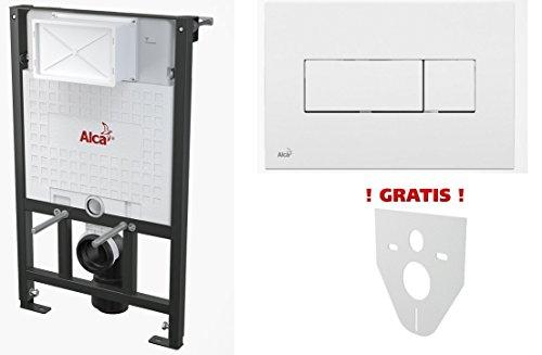 WC Vorwandelement für Trockenbau 100 cm inklusive Betätigungsplatte Weiss Typ Quadro Mini Unterputzspülkasten Spülkasten Wand WC hängend Schallschutz