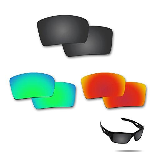 fiskr anti-saltwater Polarisierte Ersatz Gläser für Oakley Augenklappe 23Paar Pack, Stealth Black & Fire Red & Emerald Green