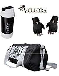 VELLORA Polyester Body Building 25 LTR Duffel Gym Bag (Black) with Power  Boost Shaker 0178b5cde4f3c
