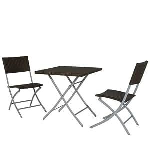 Siena Garden 733148 Set du Balcon Luke 2 Chaises Pliantes / 1 Table 70 x 70 cm