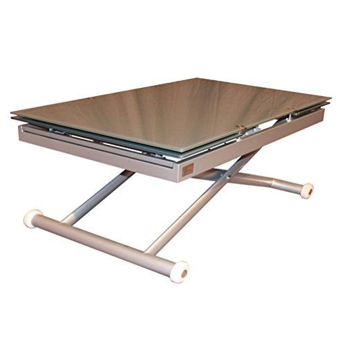 RR DESIGN Tavolo saliscendi allungabile vetro tavolo salotto modello Jordan Grigio