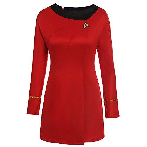Lackingone Uniform Kleid TOS Kostüm Rot Damen - Star Trek Rote Uniform Kostüm