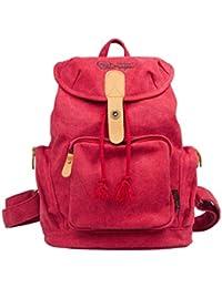DGY - Moda mochila de lona y PU cuero con diseño casual para mujer Bolsa de Viaje Mochila de a diario - E00117
