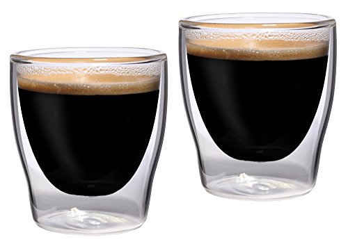 Feelino Bloomino doppelwandige Espresso-Gläser, 2er-Set 80ml Th...