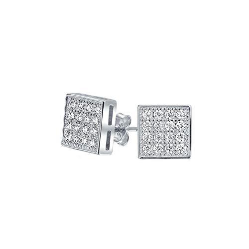 Geometrische Quadratische Zirkonia Micro Pave CZ Ohrstecker Für Herren Für Damen 925 Sterling Silber 7MM