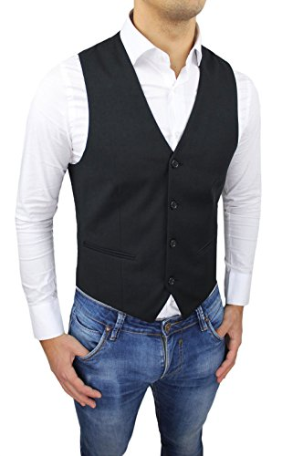 Panciotto Gilet uomo FB CLASS Sartoriale nero casual elegante 100% Made in Italy Taglia da XS a 3XL (L, nero)