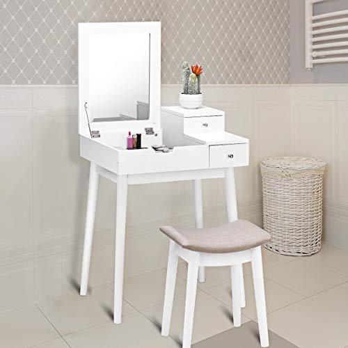 Generic Rage Hocker Schreibtisch Flip Top Makeup Schreibtisch Modern Schminktisch Frisiertisch Spiegel Aufbewahrung Hocker Modern Schminktisch - Flip-top-schreibtisch