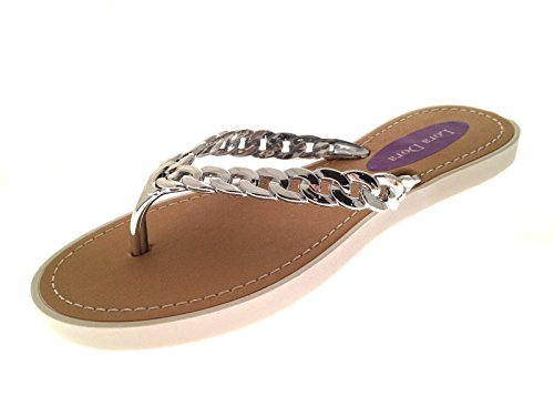womens-summer-sandals-chain-toe-posts-white-silver-size-uk-5