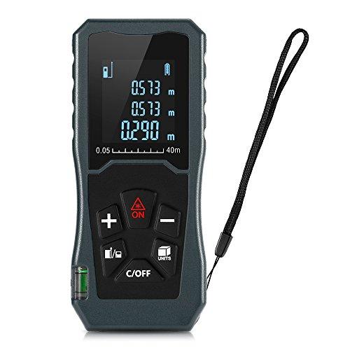 Misura Della Distanza Laser Multiuso 131FT / 40M con Funzione di Silenziamento Ampio Display LCD Retroilluminato Misurare la Distanza con Area e Volume, Modalità Pitagorica