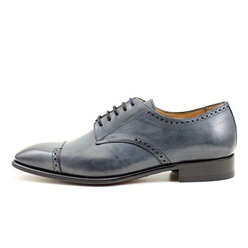 GIORGIO REA Chaussures Homme Gris Fait à la Main en Italie, Single Boucle, Brogues, Mocassins, Boucles, Élégant, Haute Couture
