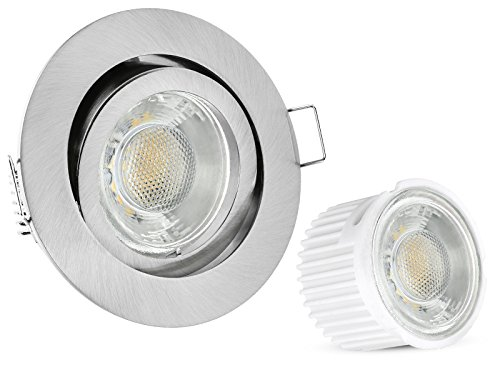 10er Set extra flache LED Einbaustrahler flach (34mm) Downlight in rund schwenkbar Edelstahl Optik mit 5W LED Modul warmweiß