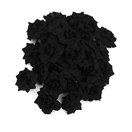 50 Rosas De Seda Artificial Clips Nupcial Decoración De La Boda De Flores Negras Cabezas
