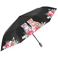 Small Folding Compact Umbrella Girls Women - Cats and Dogs on Flowers and Plain Colour Background - Windproof Automatic Brolly in Fiberglass - Waterproof Robust - PFC FREE - Diam 96 cm - Perletti Time