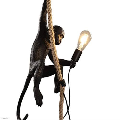 Creativo moderno LED Monkey Chandelier Resina di canapa Corda Plafoniera Soggiorno per bambini Ristorante Lampade a sospensione (Color : Black)