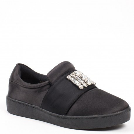 Ideal Shoes - Baskets basses avec bande incrustée de strass Taiana Noir