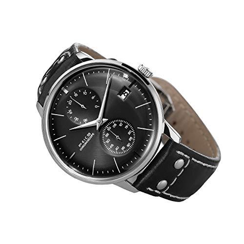 Uhr Automatik FEICE Armbanduhren Mechanisch Minimalistische Uhr mit Gewölbtes Mineralglas Multifunktions Uhren Schwarz Zifferblatt Herren Uhren - FM212