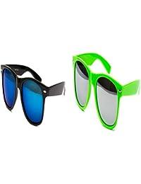 2 Brillen im Set Nerdbrille Nerd Brille Sonnenbrille Schwarz Verspiegelt Nerd Malle Grün OyyFmi