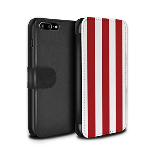 Stuff4 Coque/Etui/Housse Cuir PU Case/Cover pour Apple iPhone 8 Plus / Sarcelle/Rouge Bande Design / Mode Bord Mer Collection Rouge/Blanc/Bande