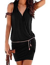 Minetom Vestido Atractivo de Sin Mangas de Cuello de Verano V de las Mujeres Bodycon Mini Dress de Playa