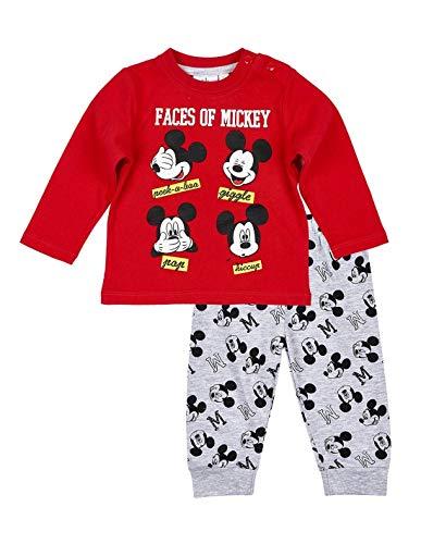 5dc503f2e0bf9 Ensemble Pantalon et t-Shirt bébé garçon Mickey Rouge Gris de 3 à 24mois