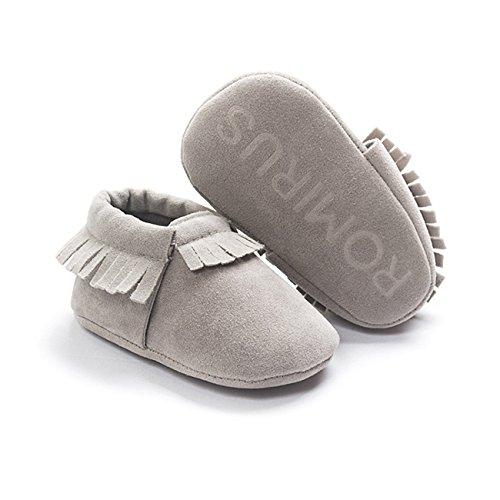 ZOEREA Chaussure Bébé Fille Enfant Souple Semelles Chaussures Premiers Pas Anti-dérapantes Gris