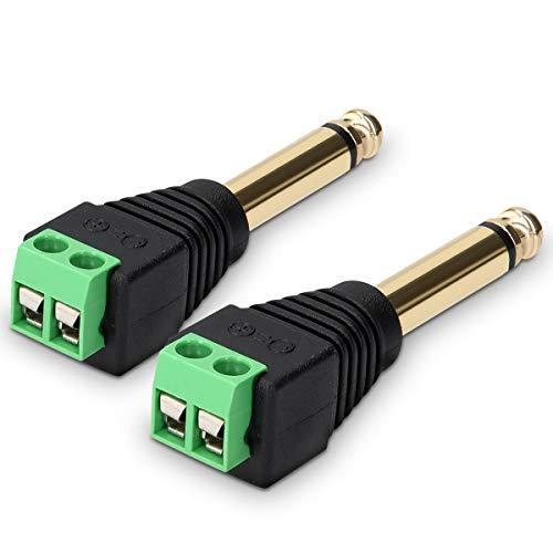 kwmobile 2X Adaptador Jack de 6.35MM - Conector a Cable de Audio de 2 Pines - Pack de Bloque de terminales - Conectores de Cables con Tornillo