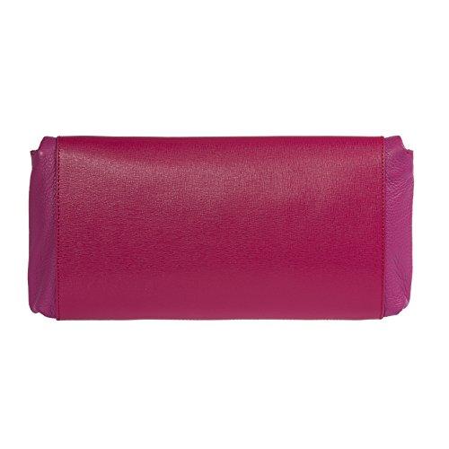 Trussardi femmes Petit sac à main, Clutch avec sangle d'épaule métallique, en cuir véritable Saffiano, 100% Calf - 34x16x6 cm Fuchsia