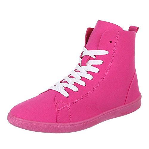 Damen Schuhe, 351-Y, FREIZEITSCHUHE, SNEAKERS, Synthetik in hochwertiger Wildlederoptik , Pink, Gr (Superman Stiefel)