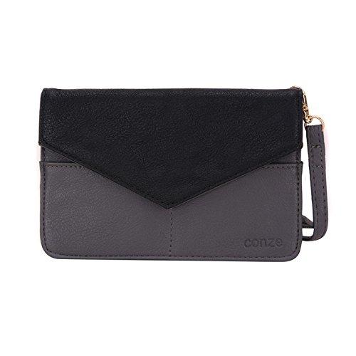 Conze da donna portafoglio tutto borsa con spallacci per Smart Phone per Samsung Ativ SE Grigio grigio grigio