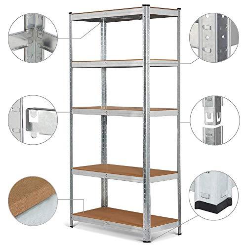 Yaheetech scaffale metallo zincato a 5 ripiani da garage magazzino per carichi pesanti 875 kg mensola regolabile da cucina salvaspazio 90 x 40 x 180 cm