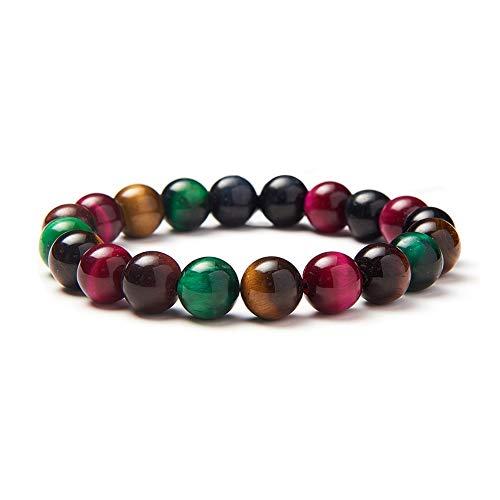 SUNNYCLUE Echte Edelsteine Multi Tiger Eye Armband Stretch Perlen rund 8 mm über 7