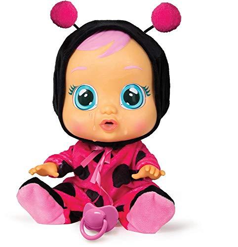 ¡Llegan los bebés llorones! Esta es Lady, vestida con su traje de mariquita. La muñeca bebé llorará si le quitas su chupete, y si no se lo devuelves, estallará en llanto. Esta rebelde bebita también grita, hace pucheritos y reproduce distintos sonido...