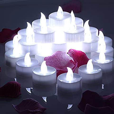 OMGAI 24 pcs LED Tea Lights Candles Battery Operated Candles Unscented Flameless Tealight White Bright Flickering 60+ Hours of Lighting Electric Fake Candle for Home Christmas Decorations - Cool