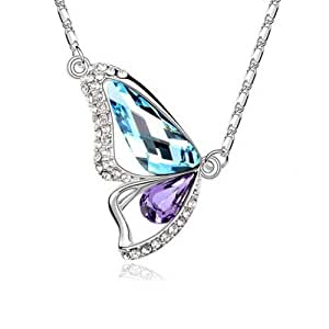 HolyPink TM - Swarovski Elements collana del pendente della farfalla di cristallo Acquamarina Tanzanite 18K Blu Viola oro bianco placcato