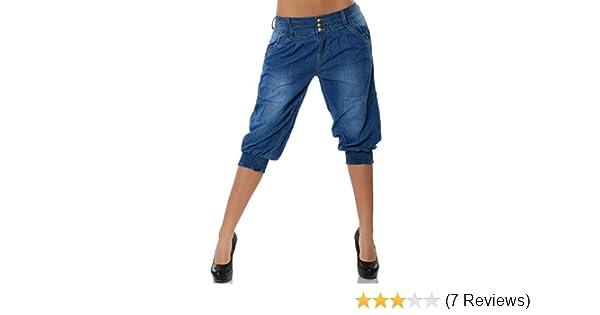 Damen Capri Jeans Hüftjeans Harem Chino 3//4 Aladin Boyfriend Baggy Hose No13240