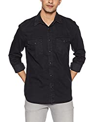GAP Mens Casual Shirt (143991400036_46512880000_Large_Black)