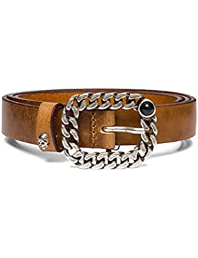 Replay Women's Women's Leather Tan Belt With Chain Buckle 100% Leather
