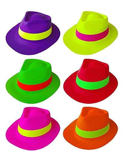 GIRM®® - S8800-1E - Cappello Party Fluo Neon 6 Colori Assortiti Confezione da 6 Pz. Carnevale
