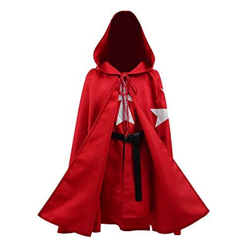 BellaPunk Kinder Jungen Mittelalterlichen Templer Malteser Ritter Mantel Tunika Weste Hospitaller Kap Halloween Kostüm (Kinder 5, Rot)