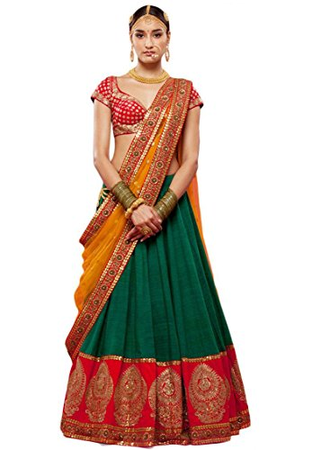 Edeal Online New Latest Designer Green Bangalori Silk Bollywood Style Dress Material...