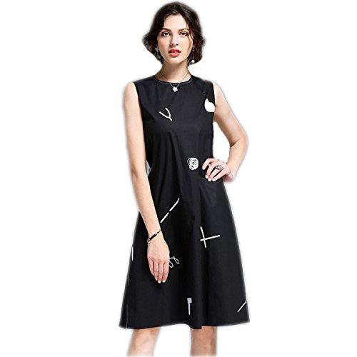 HGDR Frühling Und Art Und Weise Kleid Der Sommerfrauen Black