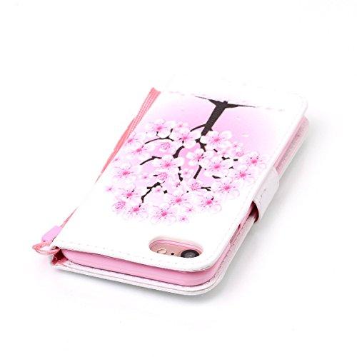 Coque iPhone 7, Étui en cuir pour iPhone 7, Lifetrut [Cash Slot] [Porte-cartes] Magnetic Flip Folio Wallet Case Couverture avec sangle pour iPhone 7 [Rayures & Coeurs] E201-Fleur de pêche