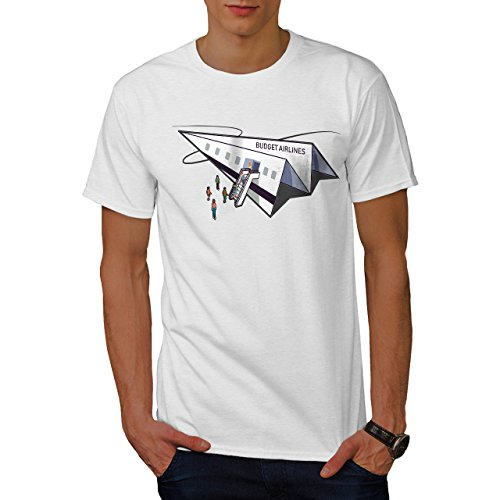 wellcoda Budget Fluggesellschaft Männer T-Shirt, Papier Ebene Grafikdesign gedruckt Tee - Fluggesellschaften, Weißes T-shirt