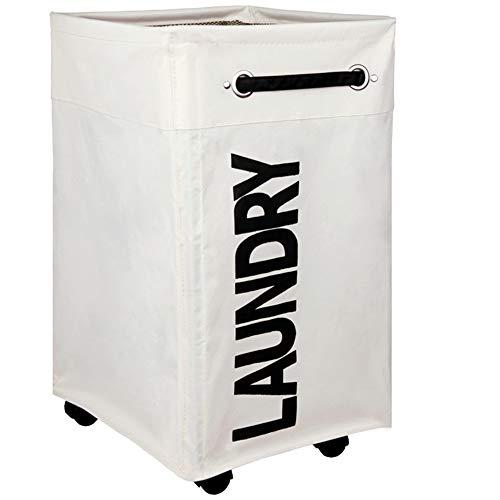 AcmeSoy Cesto Ropa Sucia con ruedas [Plegable][4 Asas][Impermeable][Cubierta de malla], Cesta de Gran Capacidad para Colada/Juguete Infantil-Blanco