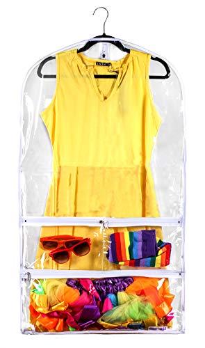 Bags for Less Transparente Kleidertasche für Anzüge und Kleider, 50,8 x 96,5 cm, für Tanz, Kleider und Kostüme, Reiseaufbewahrung für Kleidung, Schuhe und Zubehör, wasserfester Organizer (Tanz Produktion Kostüme)