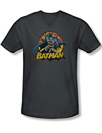 Jla - Mens Batman Rough Distress V-Neck T-Shirt