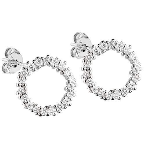 LÖB Damen Ohrstecker 925 Sterling Silber mit Zirkonia 13mm Strass Steinen Klein Runde Ohrringe Kreis Ringe Offen LSIO122 (Offene Kreis Ohrringe)