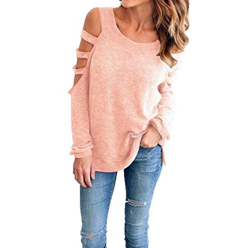 T-shirt Epaule Dénudée Fille Classique Femme Blouse Chemisier avec Manches Trouées Chic Casual Haut Manche Longue Top Chemise Shirt - Landove